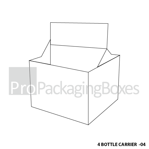 Custom Printed 4 Bottle Carrier Boxes-Blank