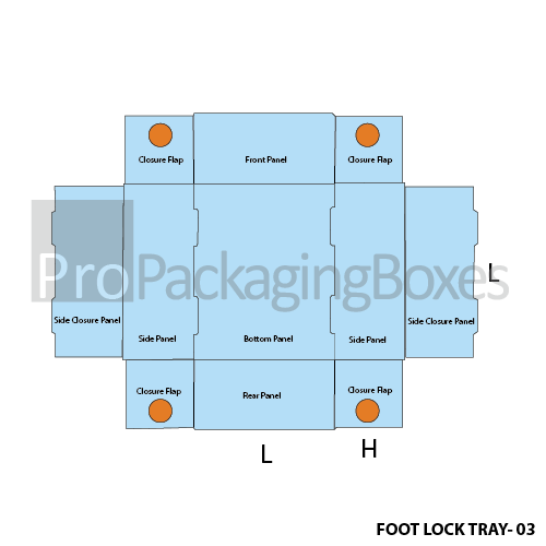Custom Printed Foot Lock Packaging Trays Template