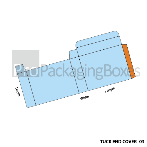 Custom Tuck End Cover Boxes Side Template View