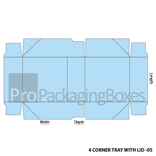 Custom Four Corner Packaging Tray with Lid Template View
