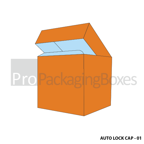 Personalized Auto Lock Bottom Boxes with Cap - Side View