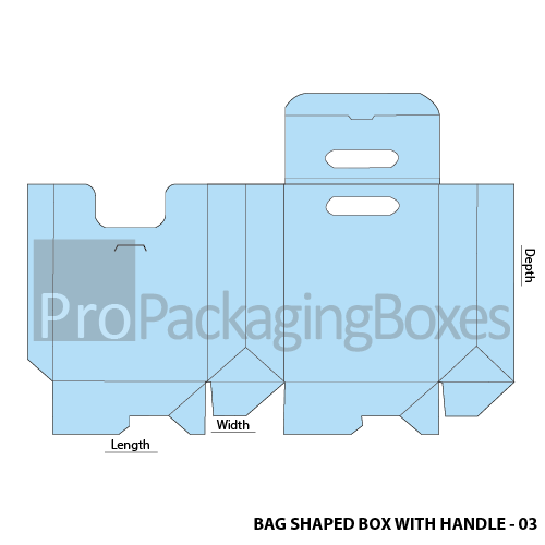 Promotional Bag Shaped Box with Auto Lock Bottom - Template View