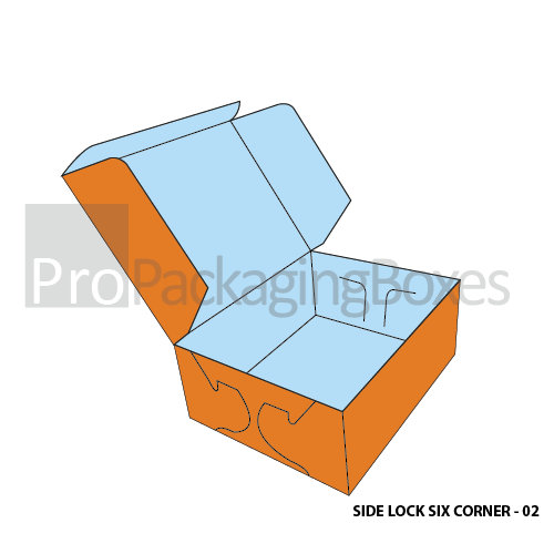 Custom Printed Side Lock Six Corner Boxes Suppliers