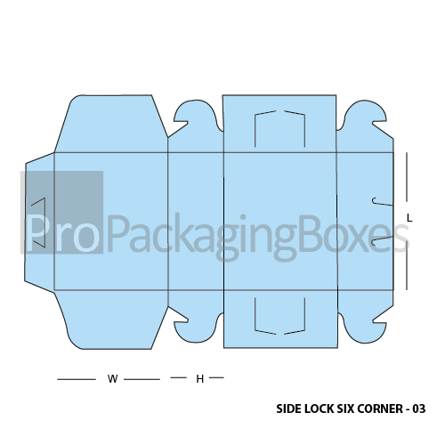 Custom Printed Side Lock Six Corner Boxes Template