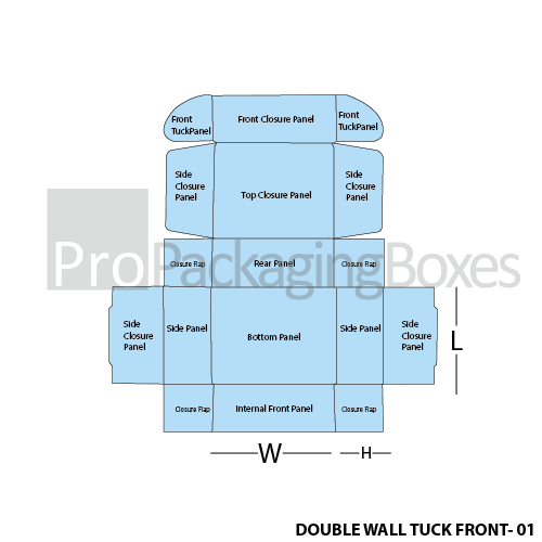 Personalized Double Wall Tuck Front Boxes - Template View
