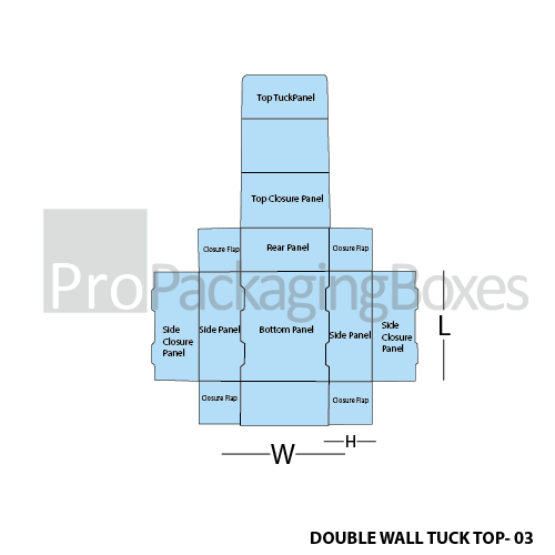 Custom Double Wall Tuck Top Boxes Template View