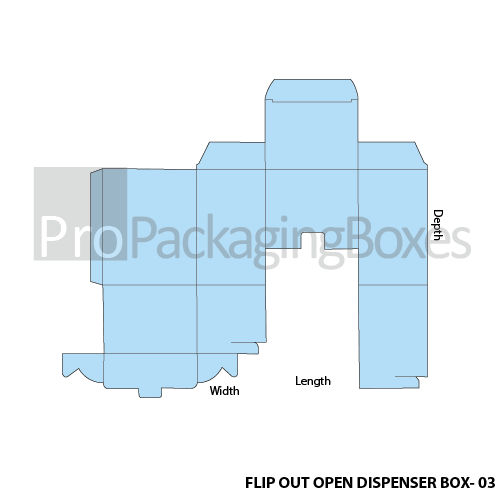 Custom Printed Flipout Open Dispenser Boxes - Template View