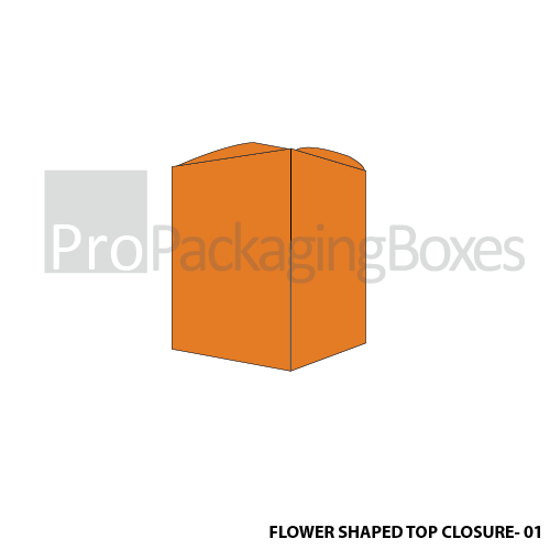 Custom Printed Flower Shaped Top Closure Boxes Front View