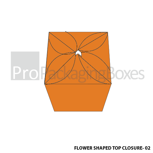 Custom Flower Shape Top Closure Box Top View