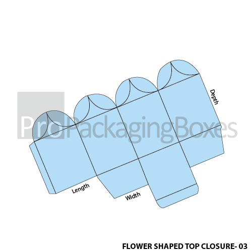 Custom made Flower Shaped Top CLosure Packaging Boxes Template View