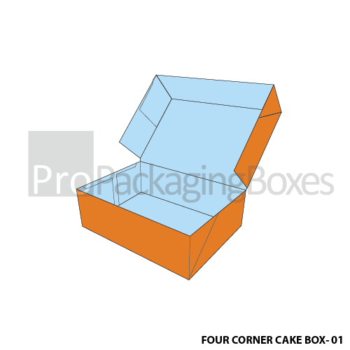 Fully personalized Four Corner Cake Boxes