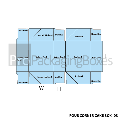 Four Corner Cake Boxes-Template View