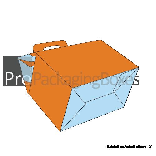 Custom Printed Gable Boxes with Auto Bottom - Bottom View