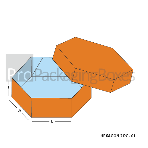 Custom Printed Hexagon 2 Piece Boxes