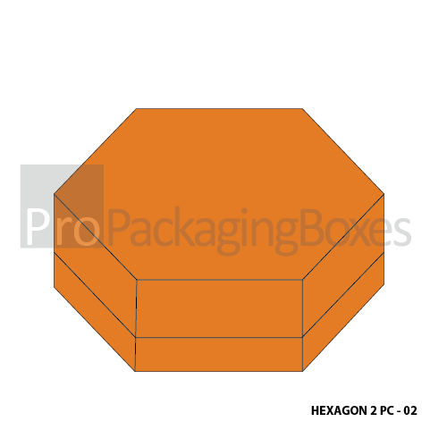 Fully Persoanlized Hexagonal 2 Piece Boxes - Top Box Closed view