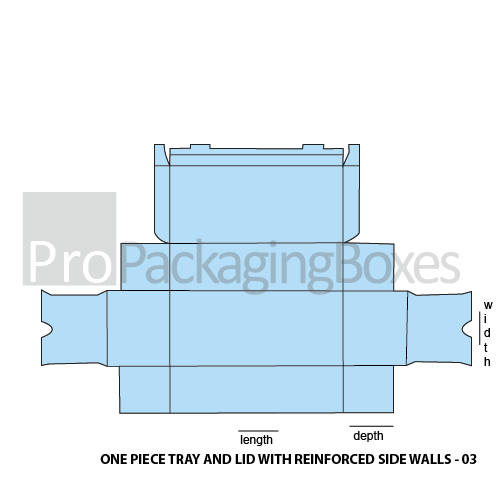 Custpm Printed One Piece Trays and Lid with Reinforced Side Walls Packaging Template