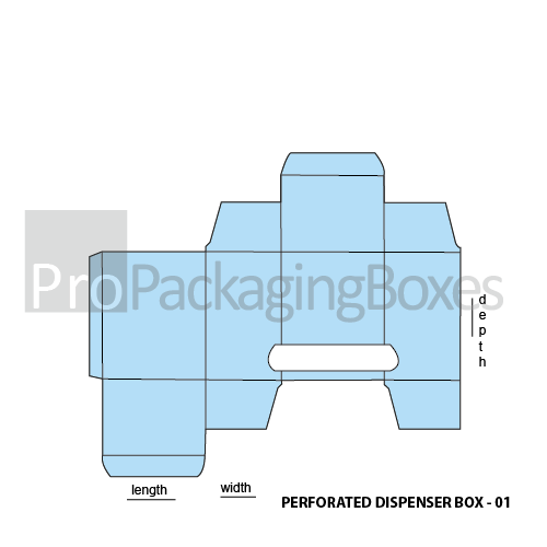 Custom Perforated Dispenser Boxes - Template View