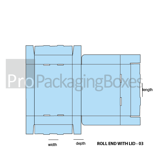 Custom Roll Ends with Lid Boxes - Template View