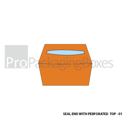 Custom Printed Seal End With Perforated Top Boxes Top View