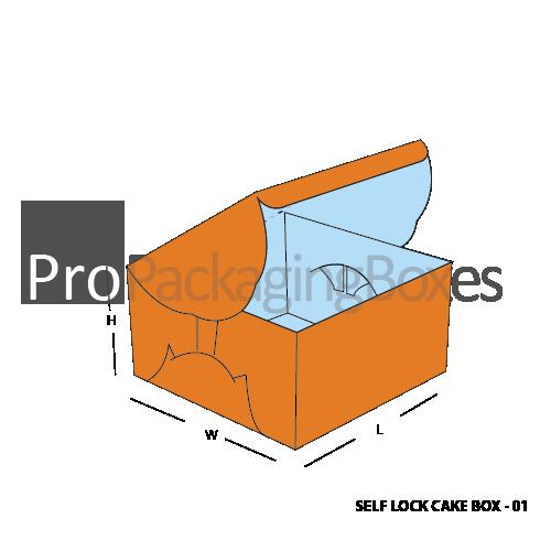 Custom Printed Self Lock Cake Packaging Boxes