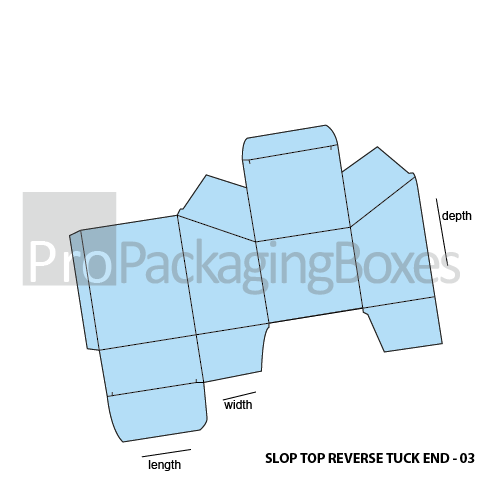 Personalized Slope Top Reverse Tuck End Packaging Boxes Template View