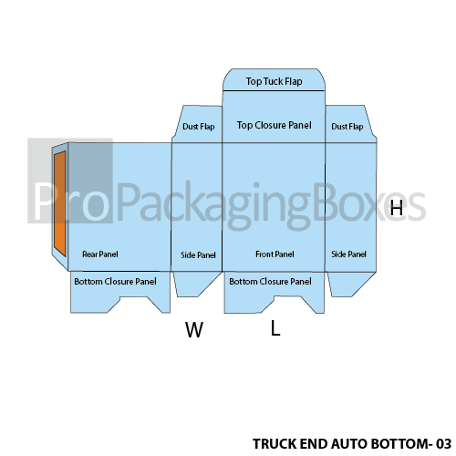 Custom Tuck End Auto Bottom Boxes - Template View